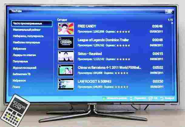 youtube в Samsung smart TV
