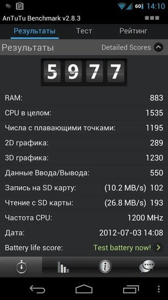 4.1 Jelly Bean + franco.kernel 350-1200 interactive governor, 307MHz GPU