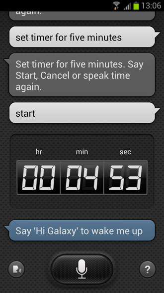 Set timer for five minets - S Voice