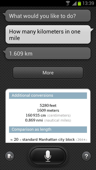 How many kilometers in one mile? - S Voice