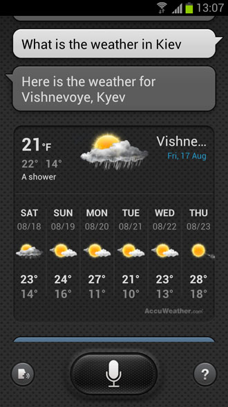 What is the weather in Kiev? - S Voice