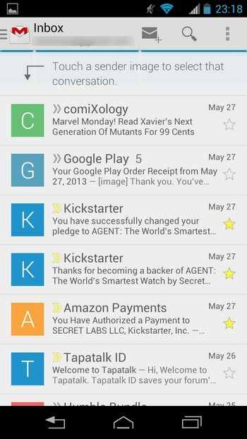 Gmail под Android - Inbox