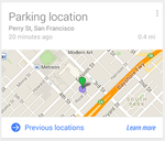 Google Now - Parking Location